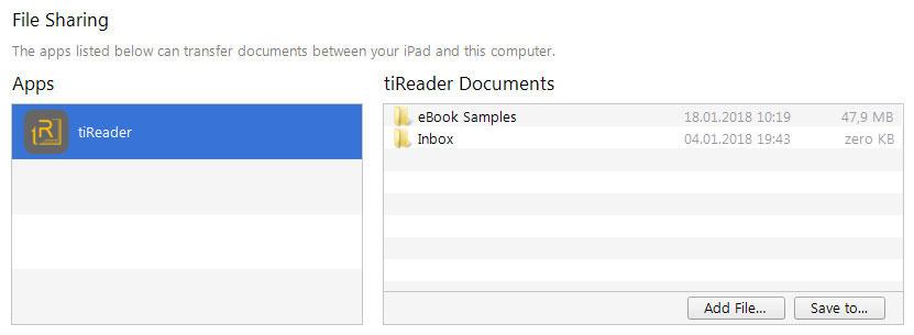 tiReader Help — Import & Export Files / iTunes